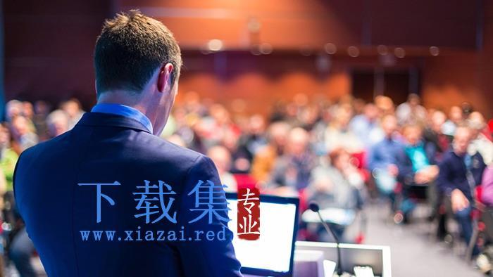 演讲的商务白领PPT背景图片  第1张