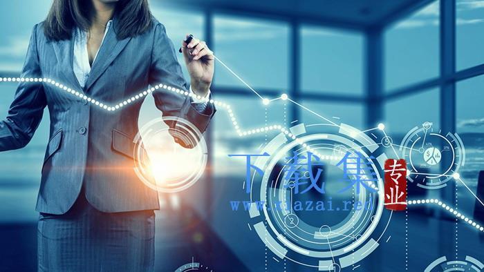 带有科技感的IT女性PPT背景图片