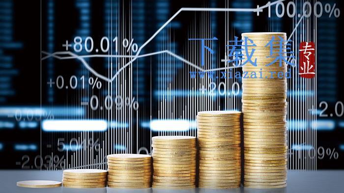 股市与金币PPT背景图片