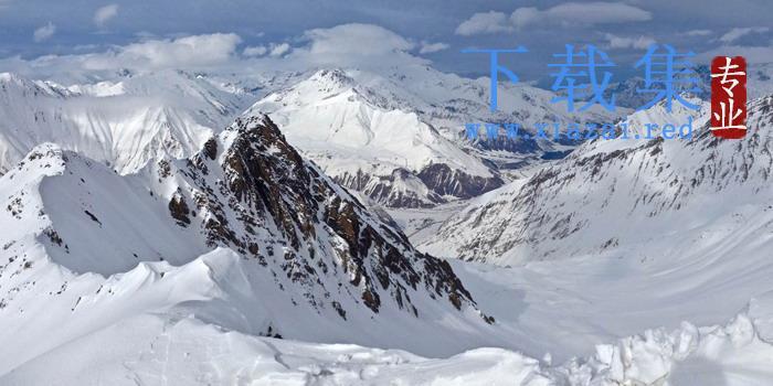 大气雪山PPT背景图片