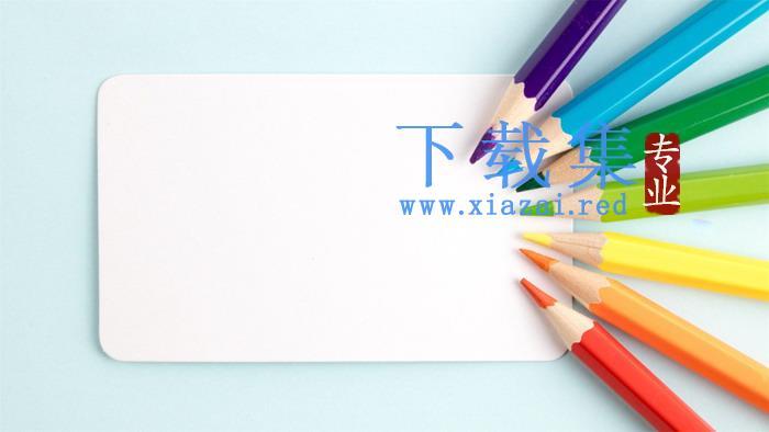 七张彩色铅笔幻灯片背景图片