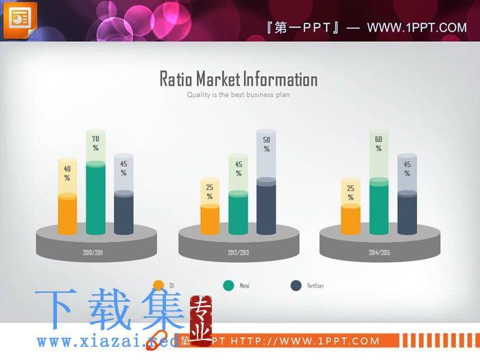 三数据对比的彩色PPT柱状图  第1张
