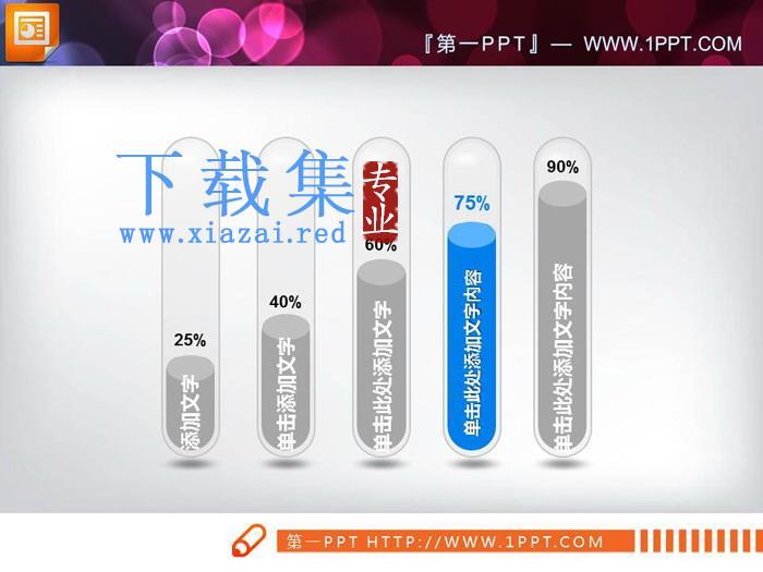 彩色温度计样式的PPT柱状图  第2张