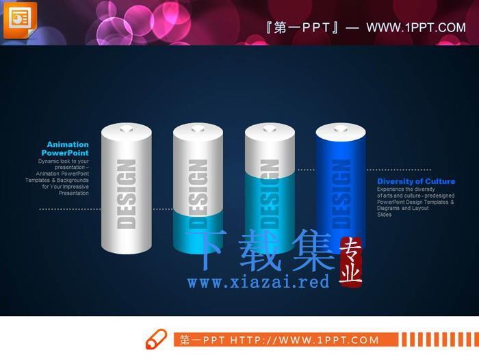 电池样式的立体PPT柱状图  第2张