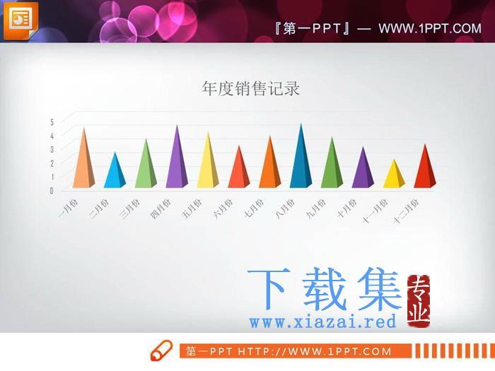 彩色锥型PPT柱状图  第3张