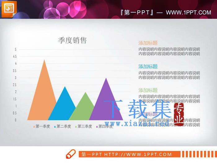 彩色锥型PPT柱状图  第6张