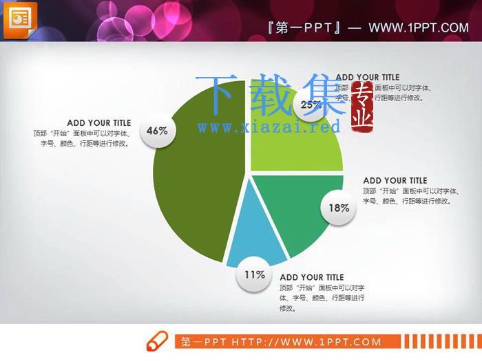 三张百分百说明PPT饼图素材  第1张