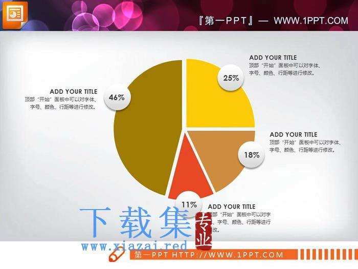 三张百分百说明PPT饼图素材  第2张