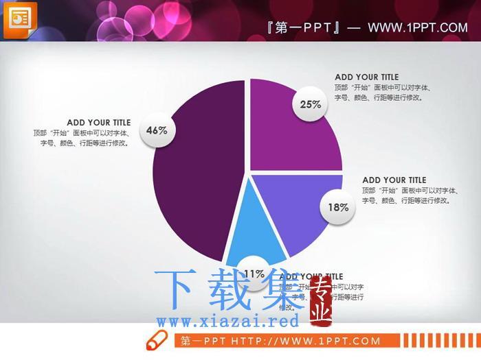 三张百分百说明PPT饼图素材  第3张