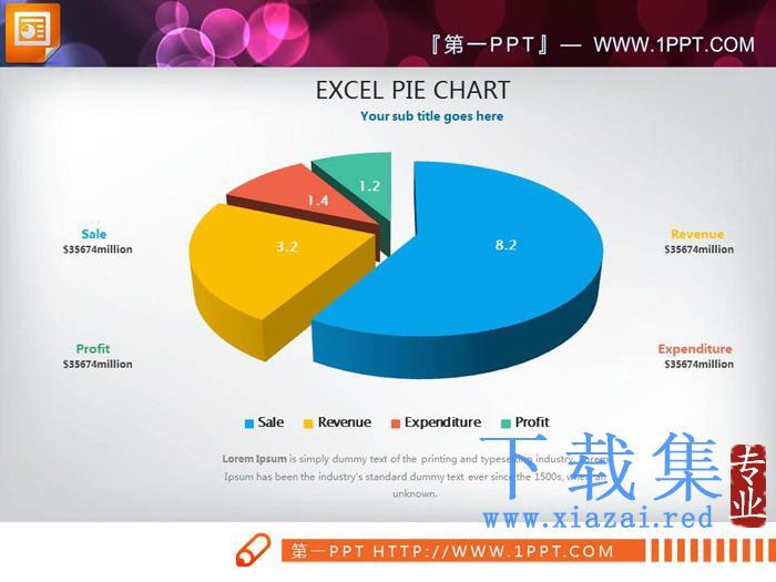 9张彩色立体PPT饼图  第5张