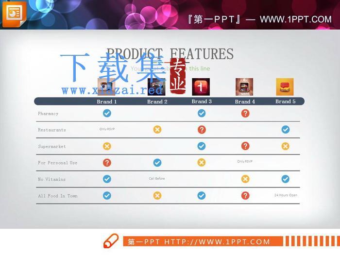 图标装饰的对错PPT表格