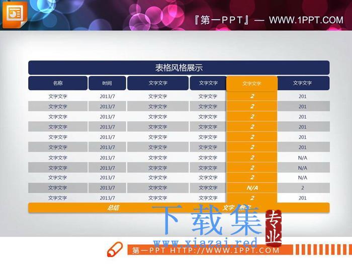 蓝黄配色实用PPT数据表格