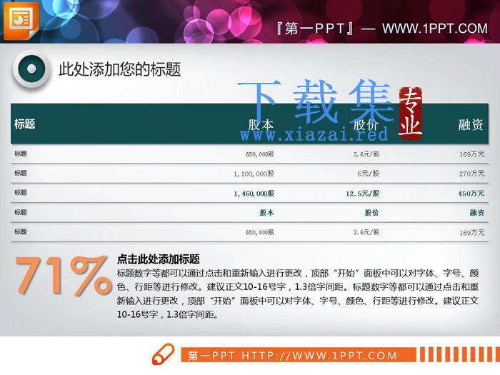绿色财务统计PPT表格模板  第1张