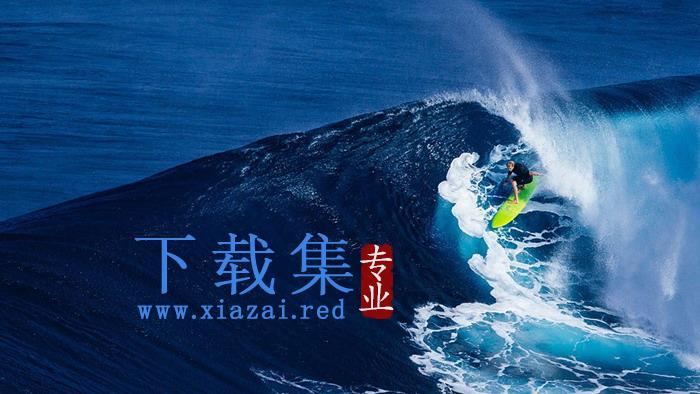 两张海浪冲浪PPT背景图片