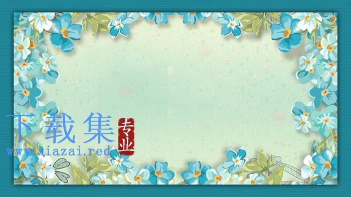 两张蓝色水彩花卉PPT背景图片