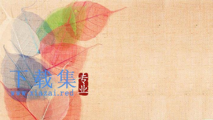 布纹叶子PPT背景图片