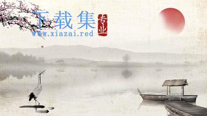古典水墨梅花小船PPT背景图片