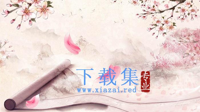 粉色唯美桃花PPT背景图片