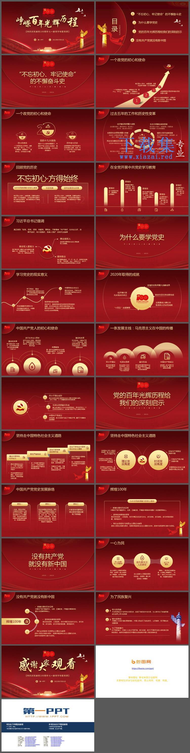 《峥嵘百年光辉历程》热烈庆祝建党100周年七一建党节专题党课PPT模板  第2张