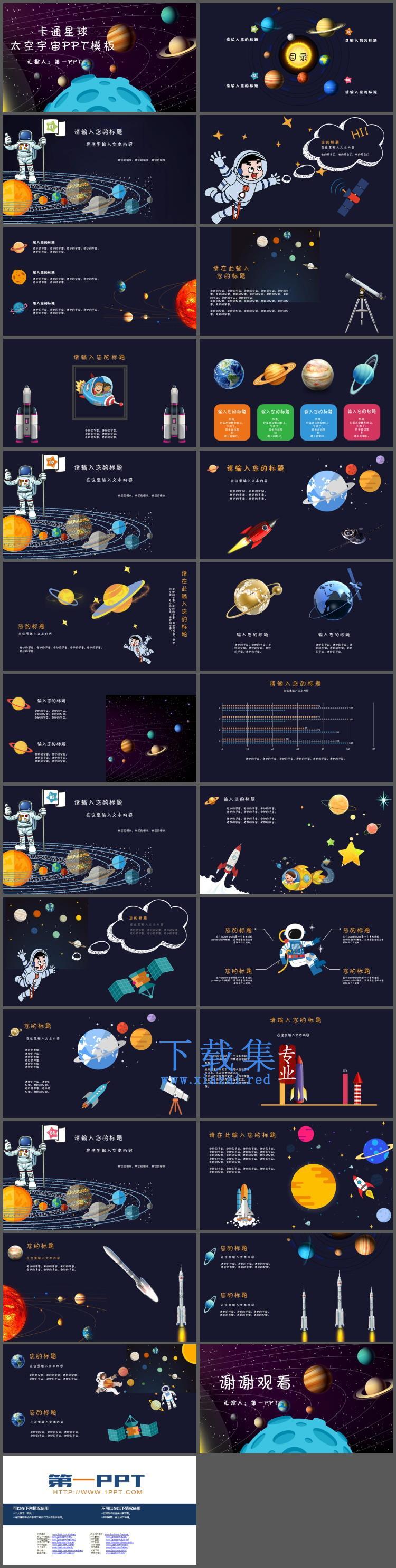 卡通宇宙星球背景的太空主题PPT模板  第2张